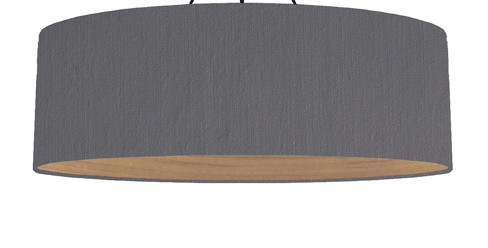 Dark Grey & Wooden Lined Lampshade - 100cm Wide