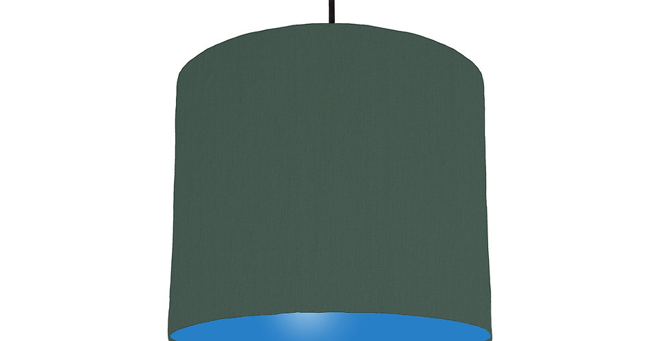 Bottle Green & Bright Blue Lampshade - 25cm Wide