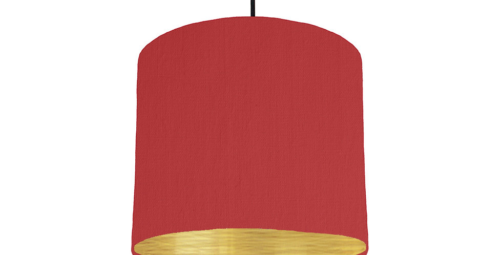 Red & Brushed Gold Lampshade - 25cm Wide