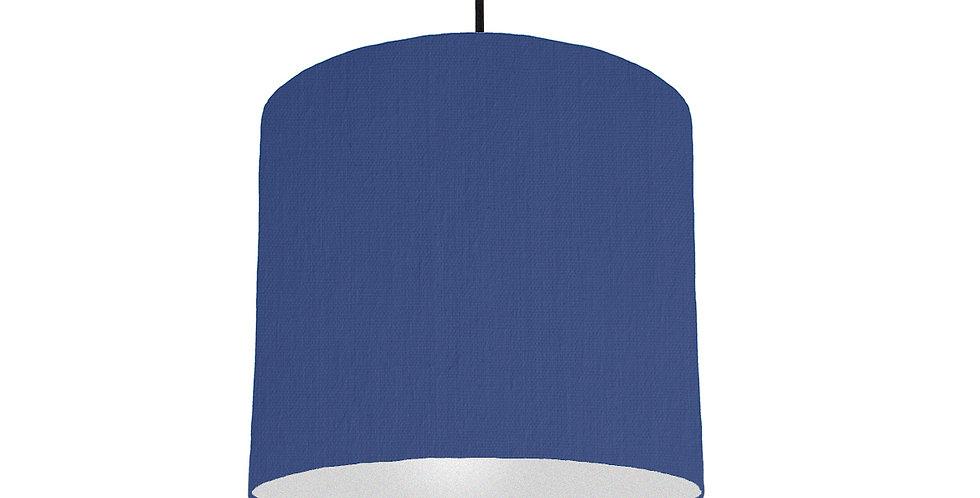 Royal Blue & Silver Matt Lampshade - 25cm Wide