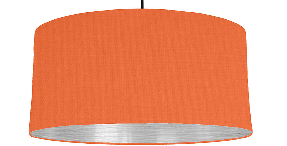 Orange & Brushed Silver Lampshade - 60cm Wide