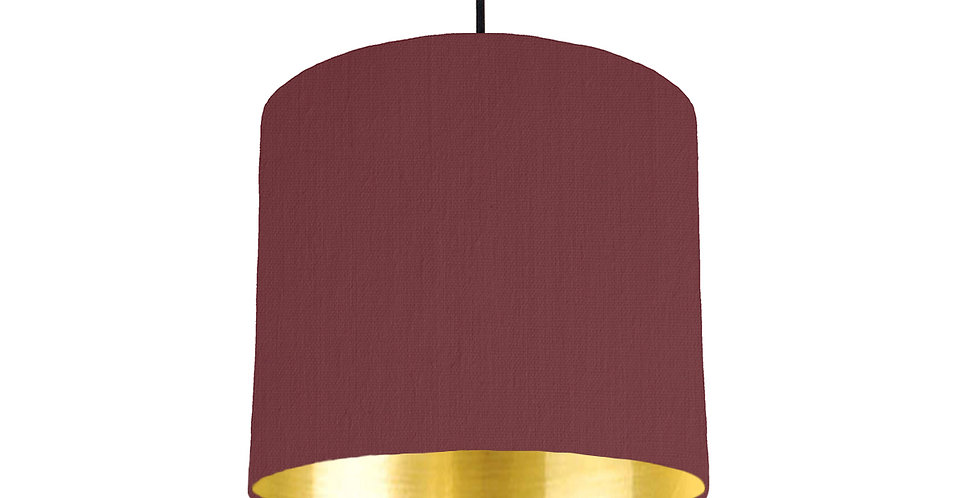 Wine Red & Gold Mirrored Lampshade - 25cm Wide