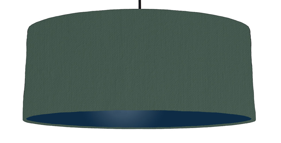 Bottle Green & Navy Lampshade - 70cm Wide