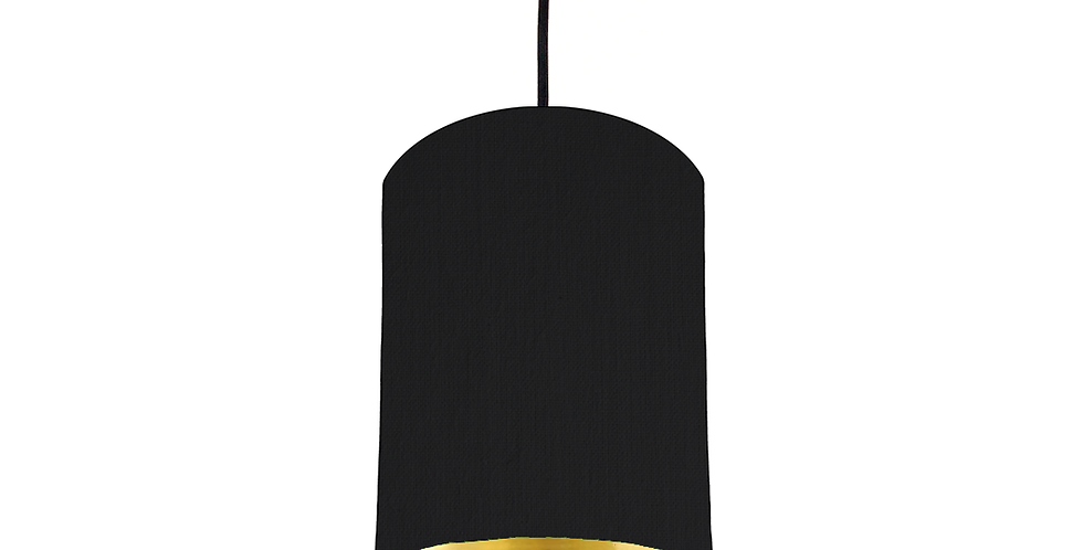 Black & Gold Mirrored Lampshade - 15cm Wide