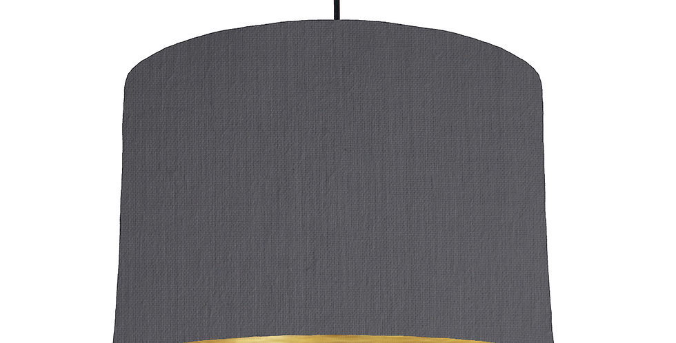 Dark Grey & Brushed Gold Lampshade - 30cm Wide