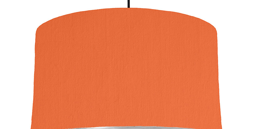 Orange & Brushed Silver Lampshade - 50cm Wide