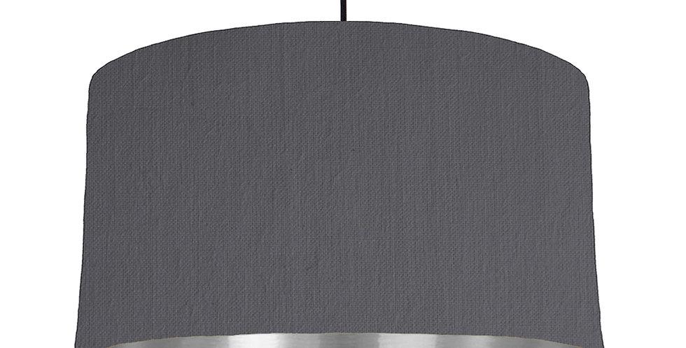 Dark Grey & Silver Mirrored Lampshade - 50cm Wide