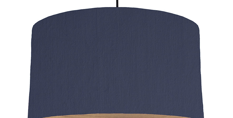 Navy & Wooden Lined Lampshade - 50cm Wide