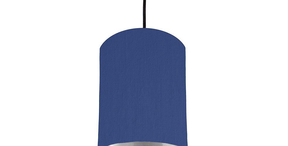Royal Blue & Silver Mirrored Lampshade - 15cm Wide