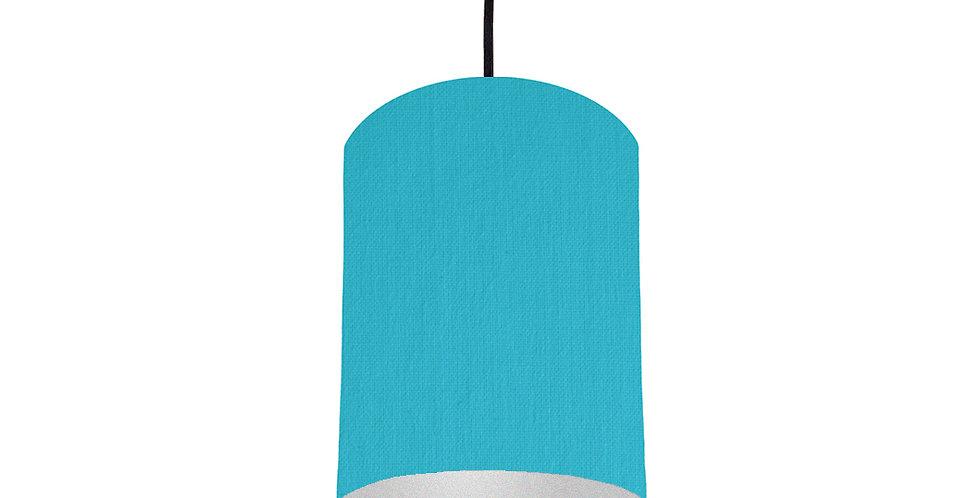 Turquoise & Silver Matt Lampshade - 15cm Wide