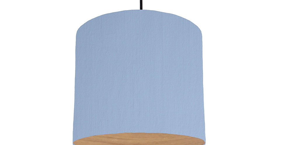 Sky Blue & Wood Lined Lampshade - 25cm Wide