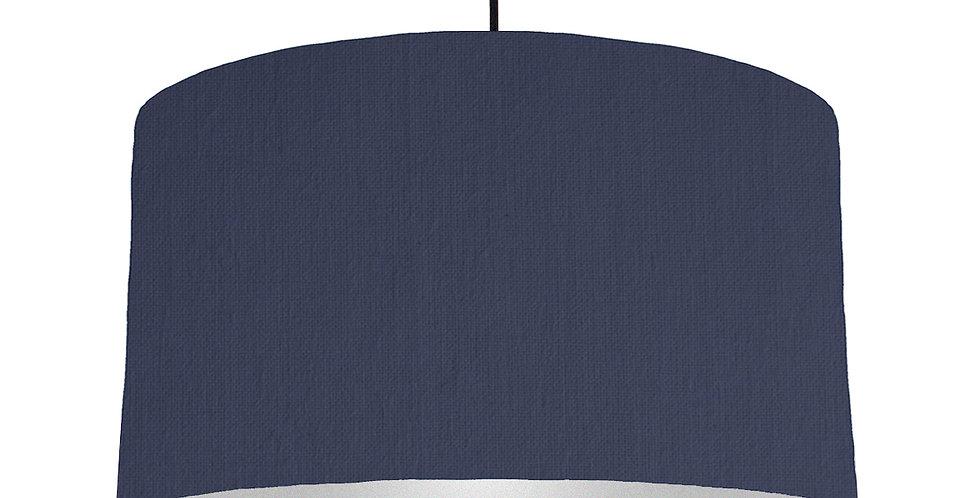 Navy Blue & Silver Matt Lampshade - 50cm Wide