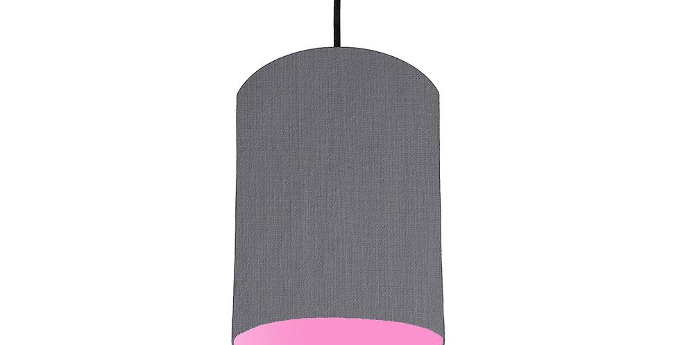 Dark Grey & Pink Lampshade - 15cm Wide