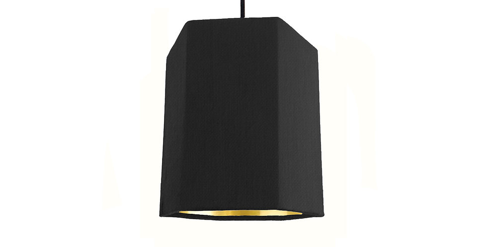 Black & Gold Mirror Hexagon Lampshade - 15cm Wide