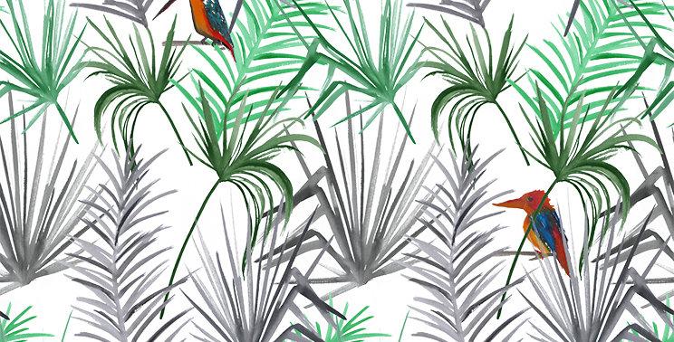 Tropical Bird Fabric - White