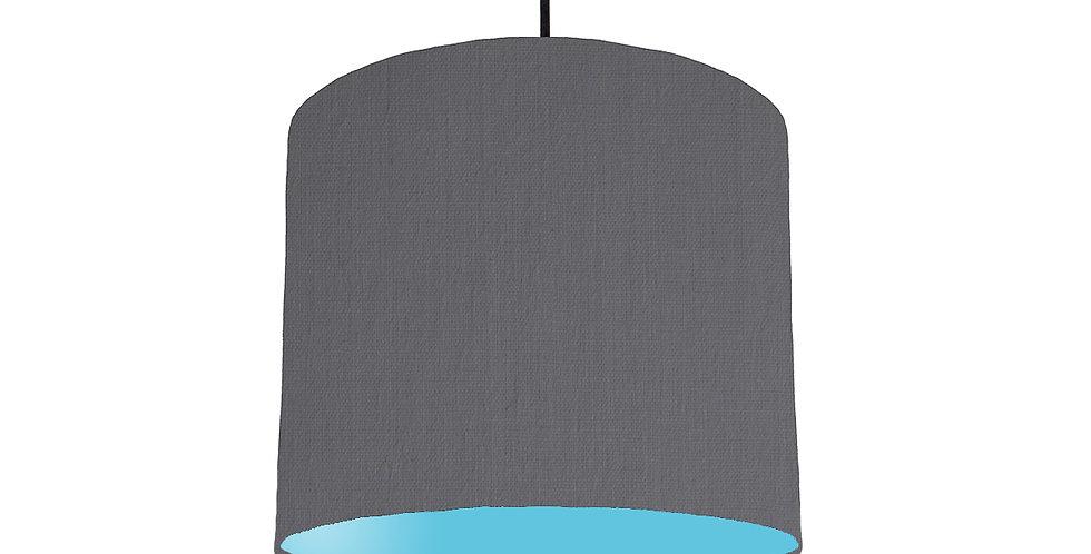 Dark Grey & Light Blue Lampshade - 25cm Wide