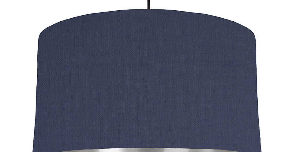 Navy & Silver Mirrored Lampshade - 50cm Wide