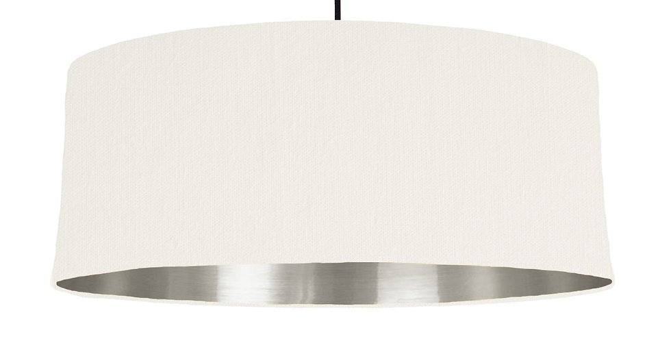 White & Silver Mirrored Lampshade - 70cm Wide