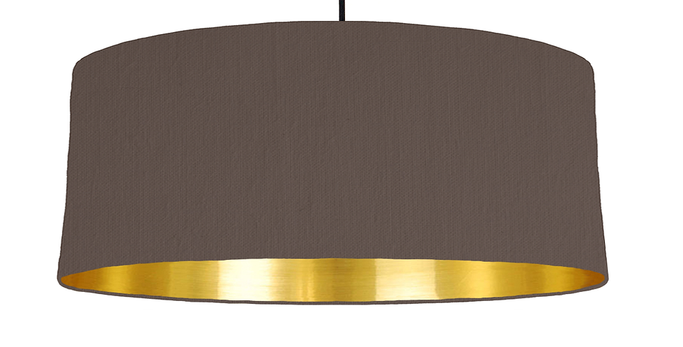 Brown & Gold Mirrored Lampshade - 70cm Wide