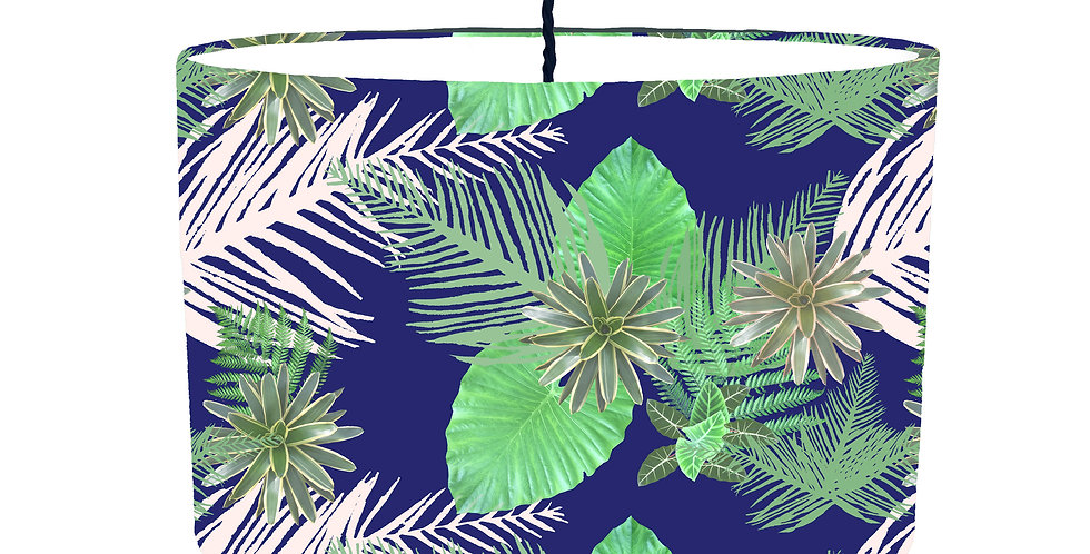 Digital Tropical plant Lampshade (Blue) - White Lining