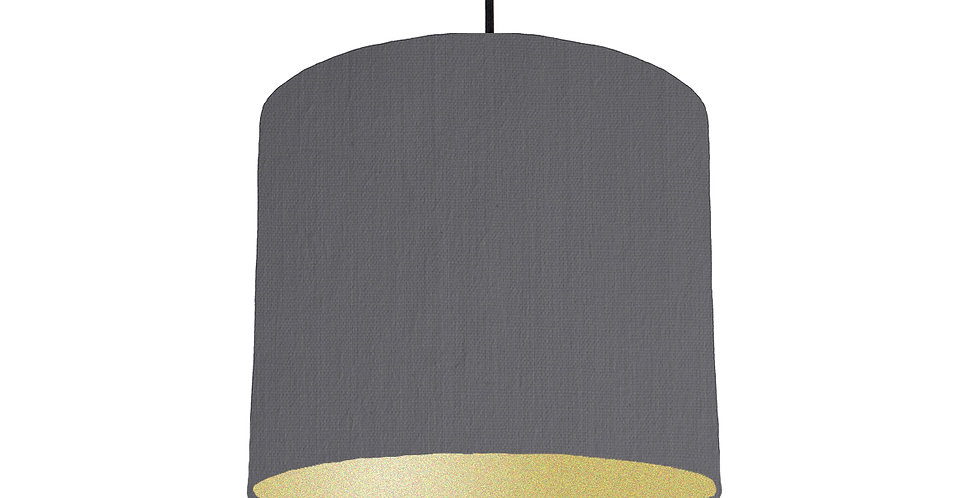 Dark Grey & Gold Matt Lampshade - 25cm Wide
