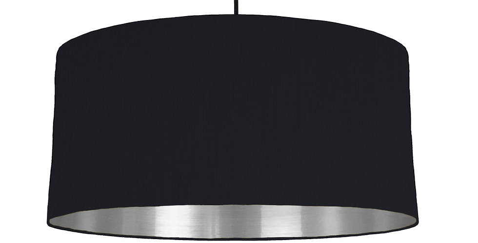 Black & Silver Mirrored Lampshade - 60cm Wide