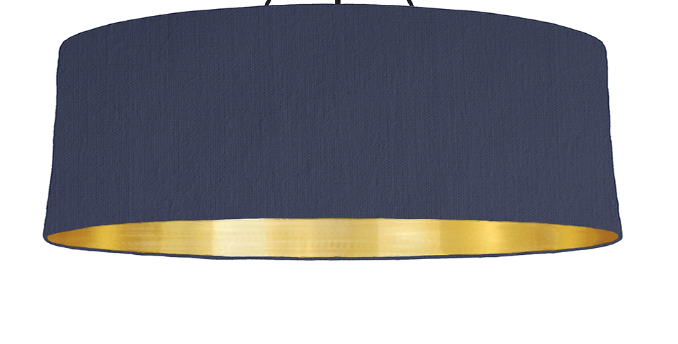Navy & Brushed Gold Lampshade - 100cm Wide