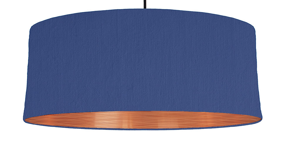 Royal Blue & Brushed Copper Lampshade - 70cm Wide