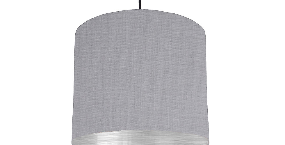 Light Grey & Brushed Silver Lampshade - 25cm Wide