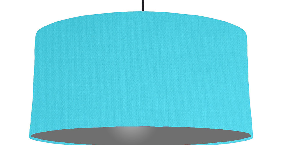 Turquoise & Dark Grey Lampshade - 60cm Wide