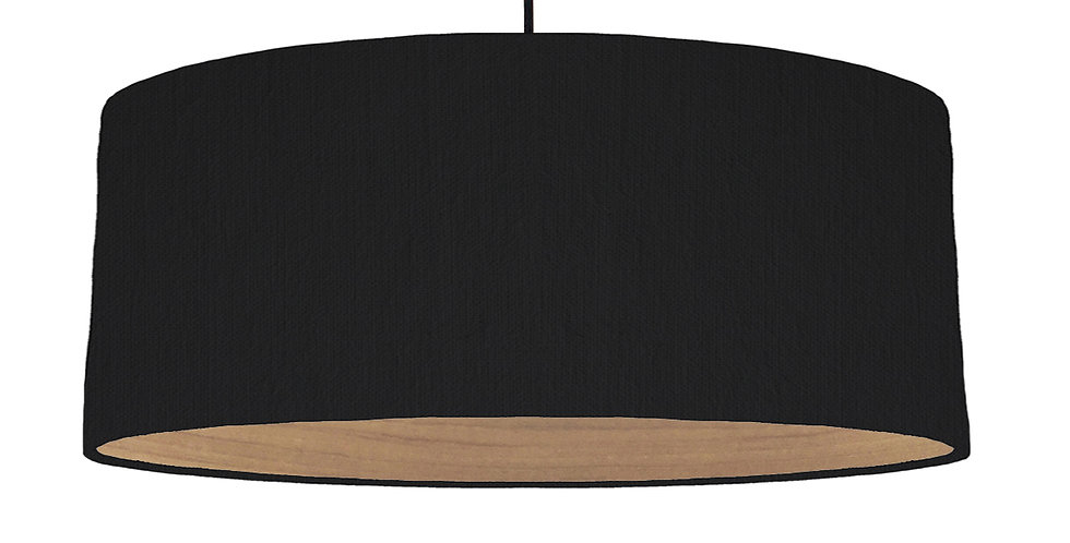 Black & Wooden Lined Lampshade - 70cm Wide