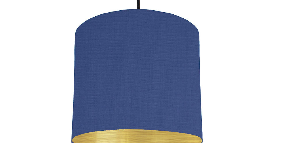 Royal Blue & Brushed Gold Lampshade - 25cm Wide