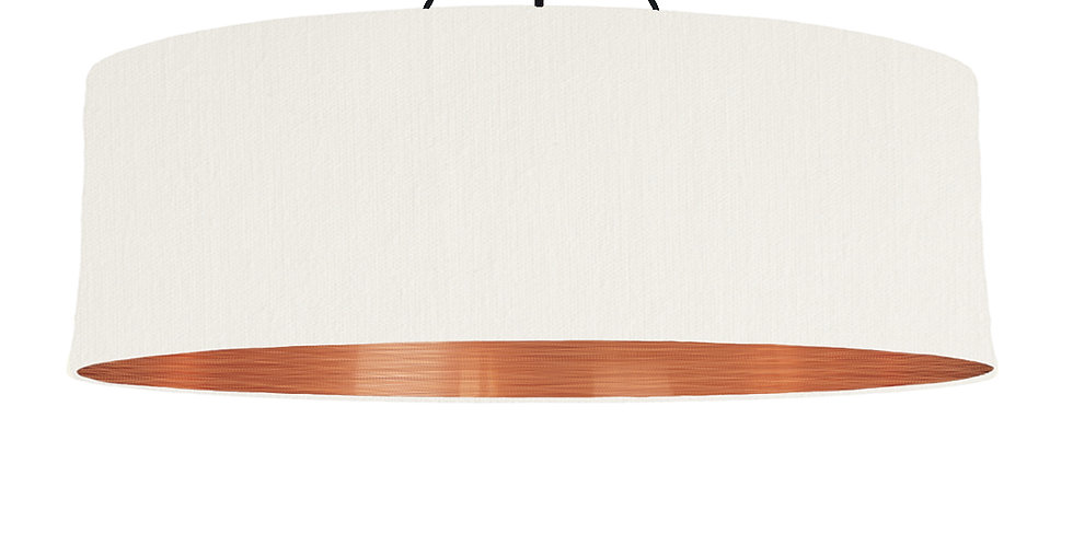 White & Brushed Copper Lampshade - 100cm Wide