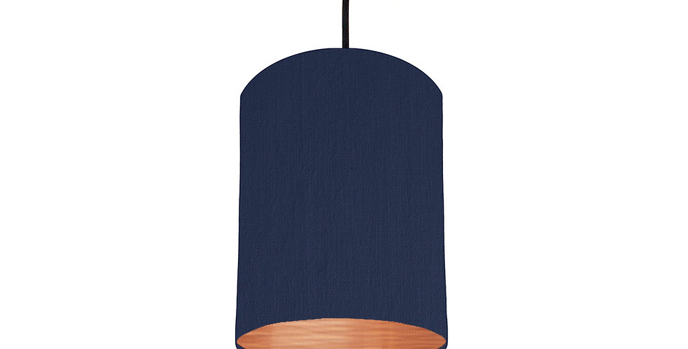 Navy & Brushed Copper Lampshade - 15cm Wide