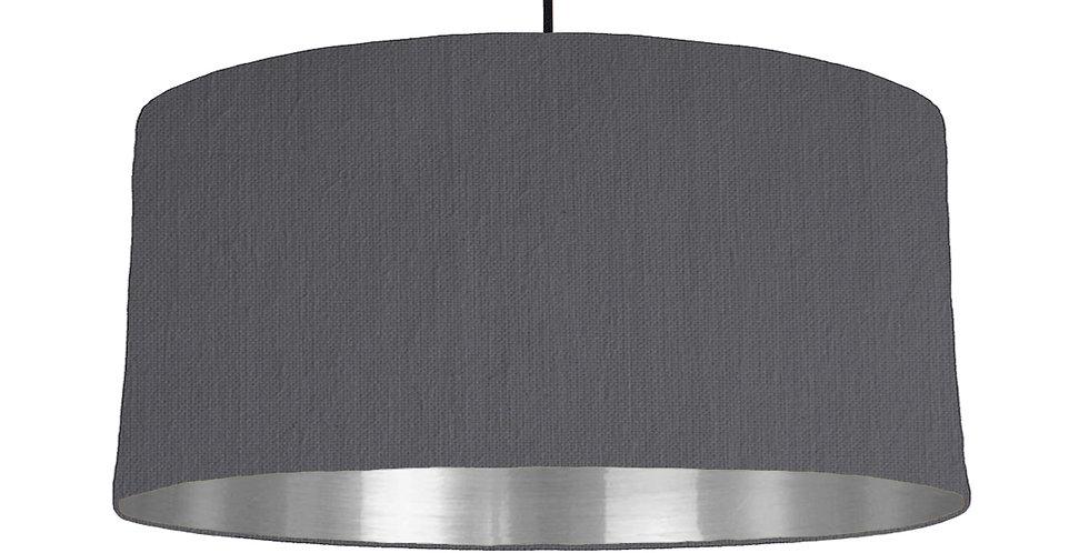 Dark Grey & Silver Mirrored Lampshade - 60cm Wide