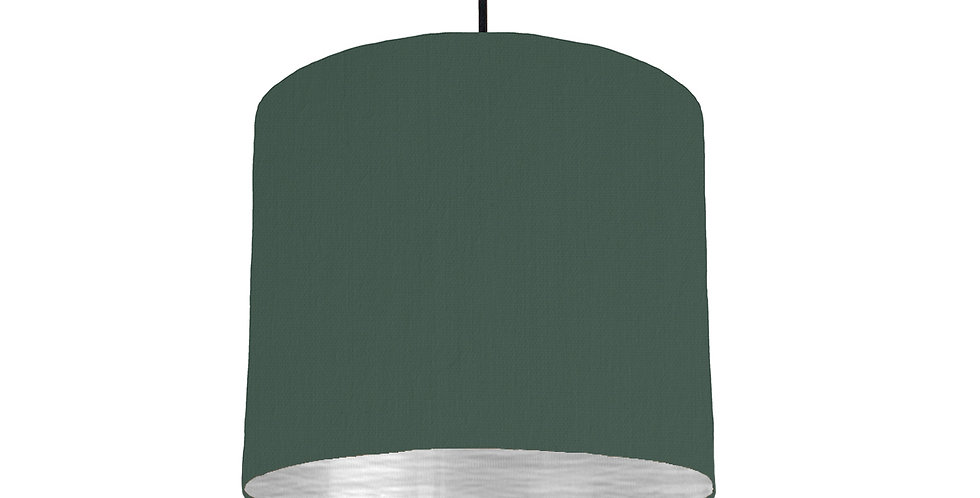 Bottle Green & Brushed Silver Lampshade - 25cm Wide