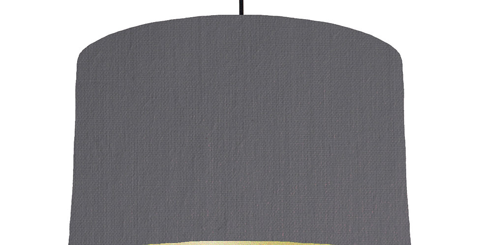 Dark Grey & Gold Matt Lampshade - 40cm Wide