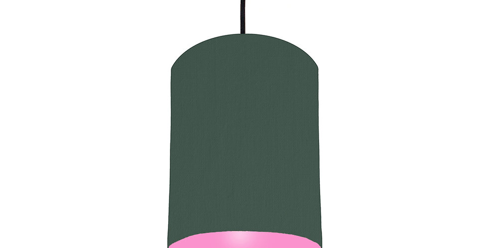 Bottle Green & Pink Lampshade - 15cm Wide