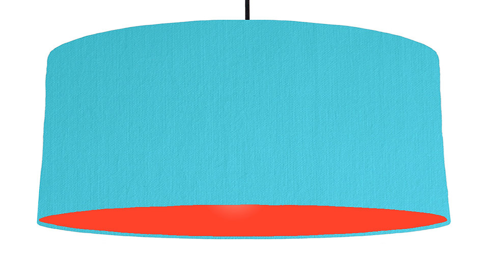 Turquoise & Poppy Red Lampshade - 70cm Wide