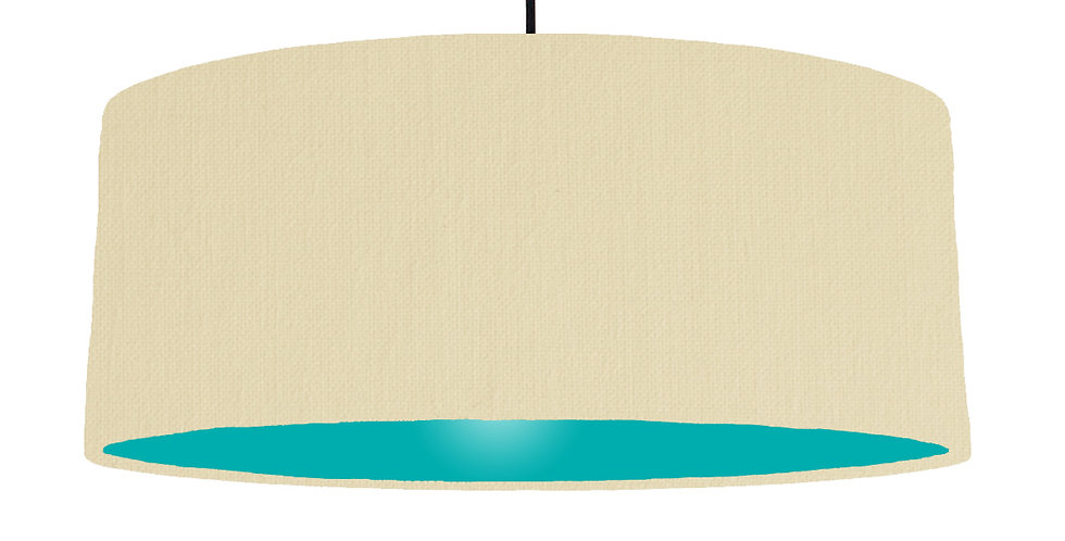 Natural & Turquoise Lampshade - 70cm Wide