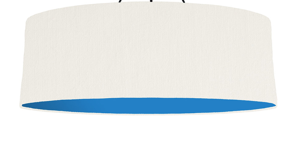 White & Bright Blue Lampshade - 100cm Wide