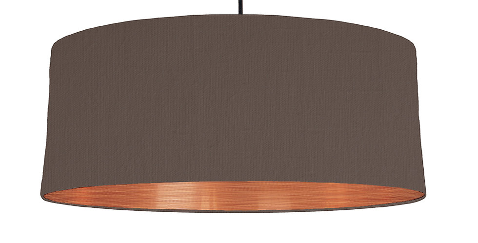 Brown & Brushed Copper Lampshade - 70cm Wide