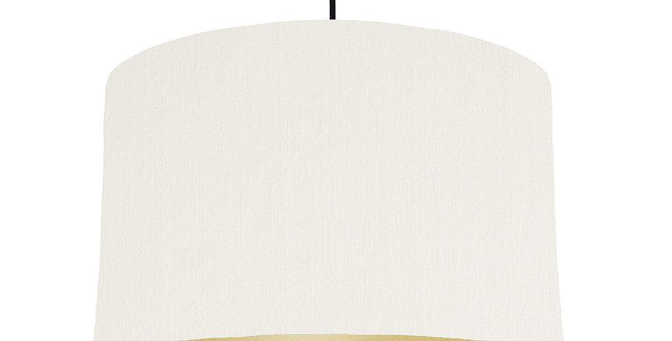 White & Gold Matt Lampshade - 40cm Wide