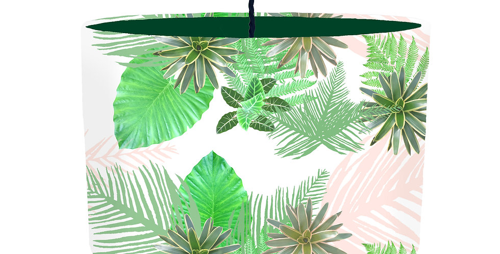 Tropical Plant Lampshade (White) - Colour Lining
