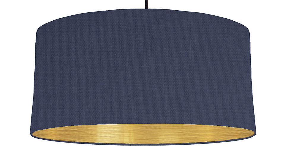 Navy & Brushed Gold Lampshade - 60cm Wide