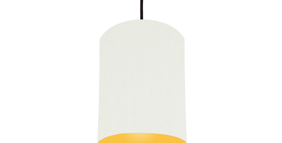 White & Butter Yellow Lampshade - 15cm Wide