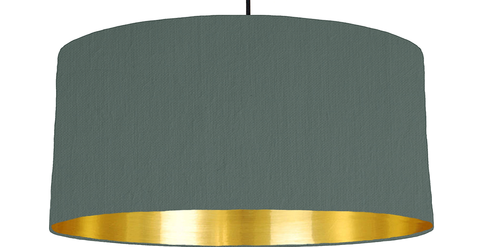 Bottle Green & Gold Mirrored Lampshade - 60cm Wide