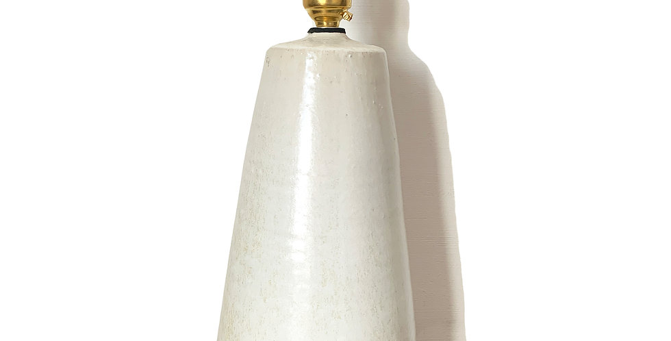 White Conical Bespoke Ceramic Table Lamp Base - 1 Available