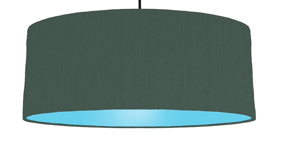 Bottle Green & Light Blue Lampshade - 70cm Wide