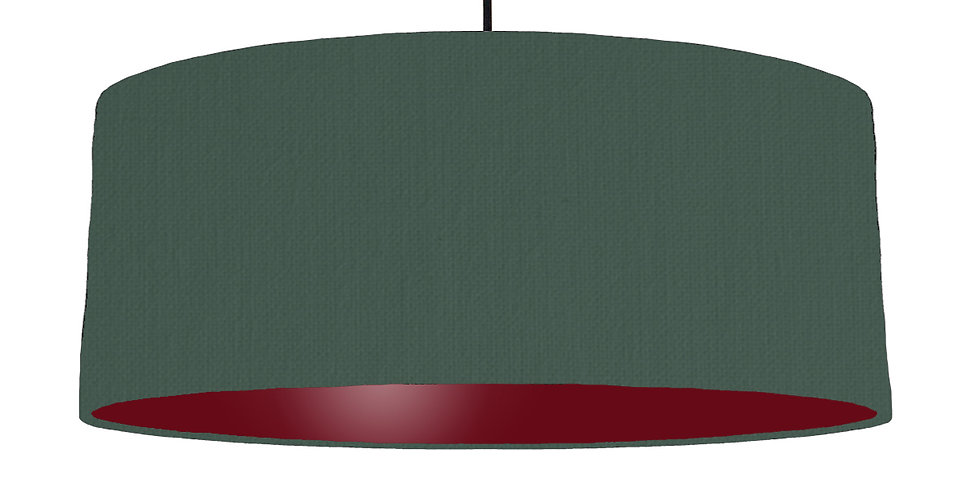 Bottle Green & Burgundy Lampshade - 70cm Wide